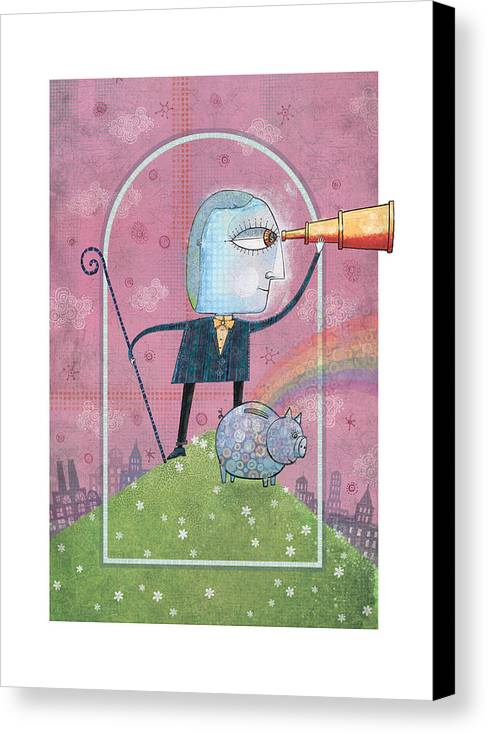 Telescope Canvas Print featuring the digital art Saving For The Future by Dennis Wunsch