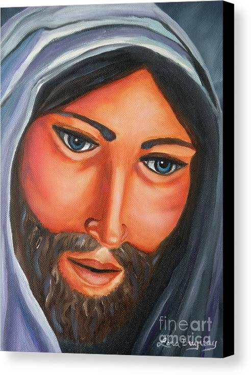 Jesus Canvas Print featuring the painting The Lord Is My Shepherd by Lora Duguay