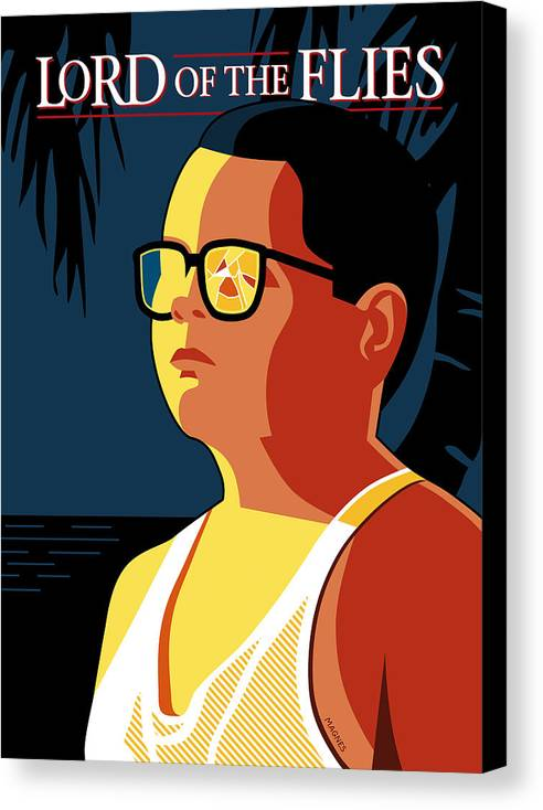 lord Of The Flies Canvas Print featuring the digital art Piggy by Ron Magnes