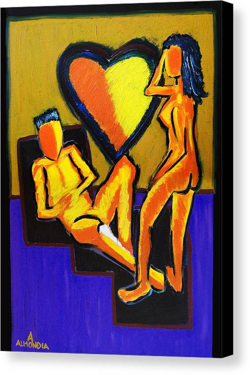 Relationships Canvas Print featuring the painting The Fire Between Us by Albert Almondia