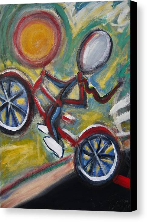 Boy Canvas Print featuring the painting Boy On A Bike by Albert Almondia