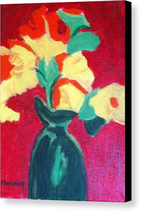 Vase Flowers Canvas Print featuring the painting Green Vase With Flowers by Lia Marsman