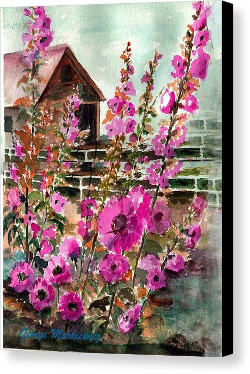 Hollyhocks And Bard Canvas Print featuring the print Hollyhocks And Barn by George Markiewicz
