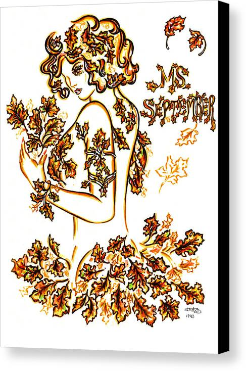 Eve Collection Canvas Print featuring the drawing Lady Autumn by Judith Herbert