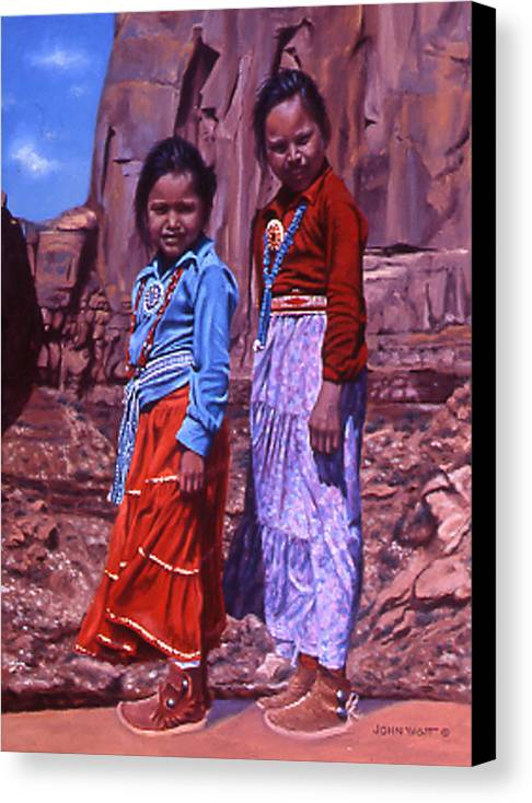 Navajo Indian Southwestern Monument Valley Canvas Print featuring the painting Simple Pleasures by John Watt