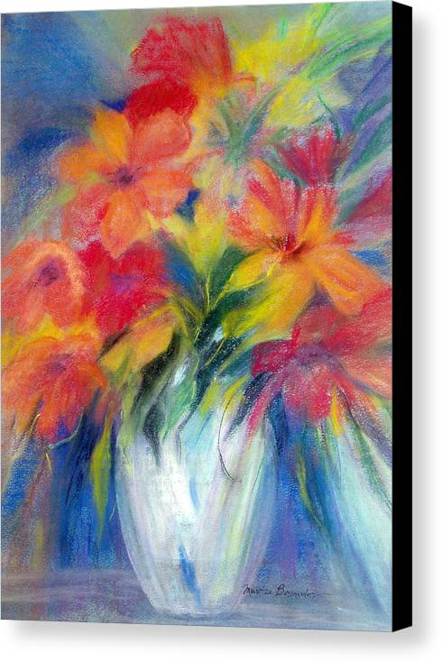 Flowers Canvas Print featuring the painting White Vase by Maritza Bermudez