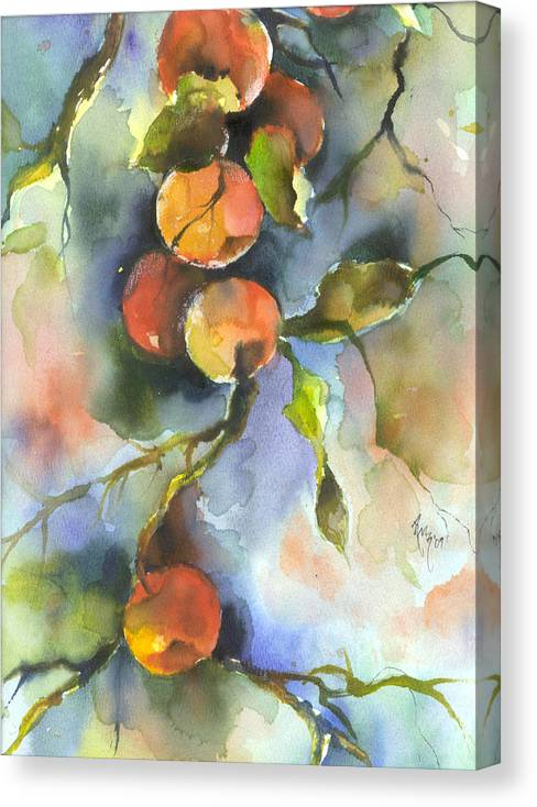 Apples Canvas Print featuring the painting Apples by Robin Miller-Bookhout