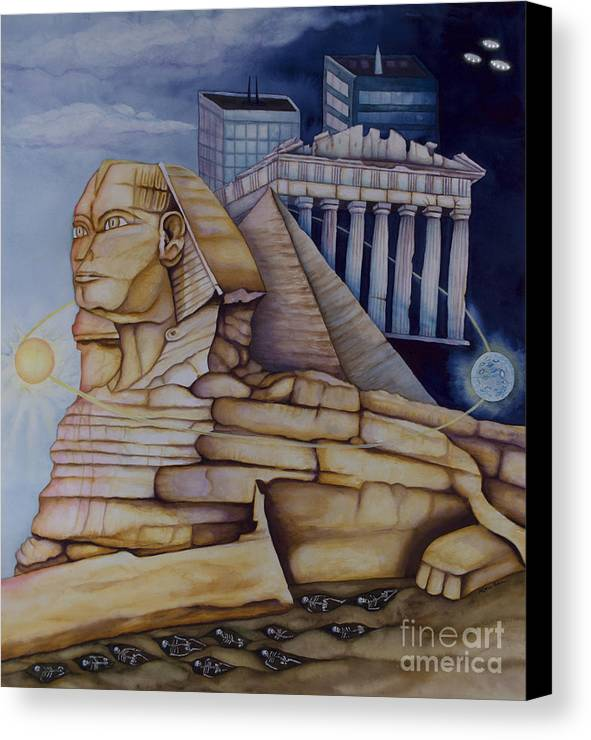 Sphinx Canvas Print featuring the painting The Silent Witness Of Civilizations Past And Those Yet To Be Born by Rebecca Barham