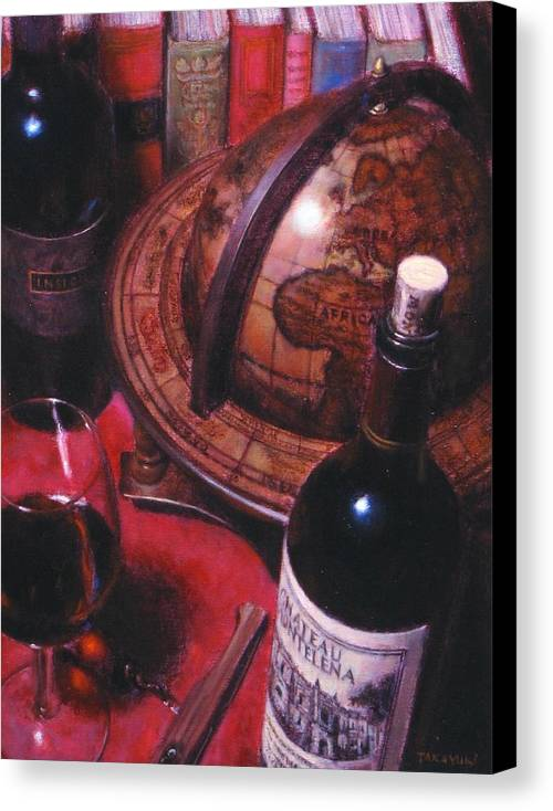 Wine Still Life Canvas Print featuring the painting Little Break Fine Red Wine by Takayuki Harada