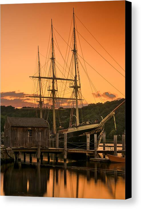 Shoreline Canvas Print featuring the photograph Mystic Seaport Sunset-joseph Conrad Tallship 1882 by Expressive Landscapes Fine Art Photography by Thom