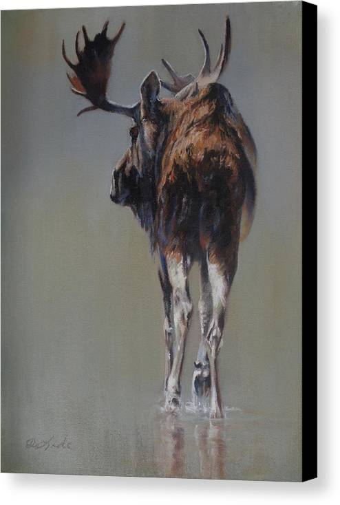 Moose Canvas Print featuring the painting The Bachelor by Mia DeLode