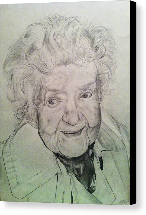 Pencil Canvas Print featuring the drawing Annie by Mike Eliades