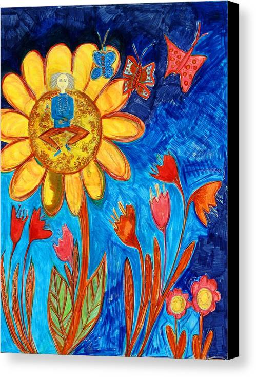 Canvas Print featuring the painting Meditating Master On Giant Sunflower by Maggis Art