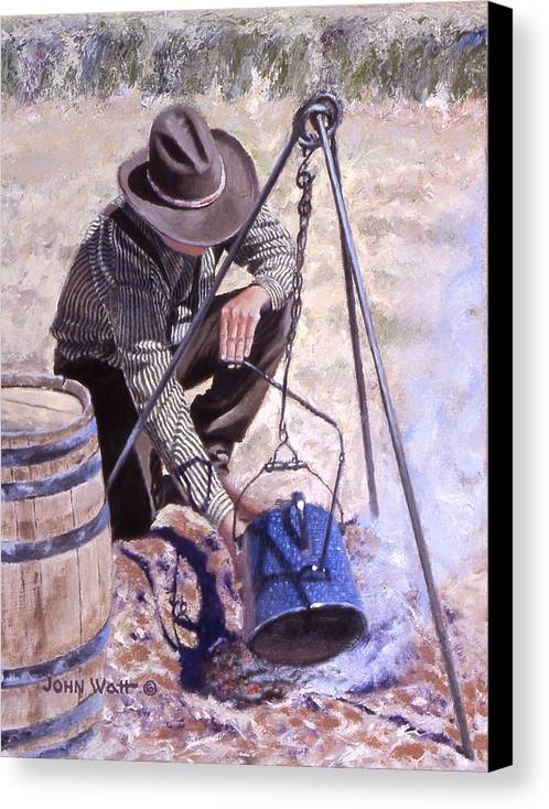 Cowboy Campfire Coffee Canvas Print featuring the painting Arbuck by John Watt