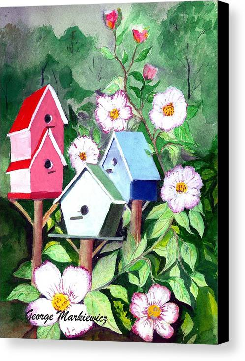Birdhouse Canvas Print featuring the print Birdhouse by George Markiewicz
