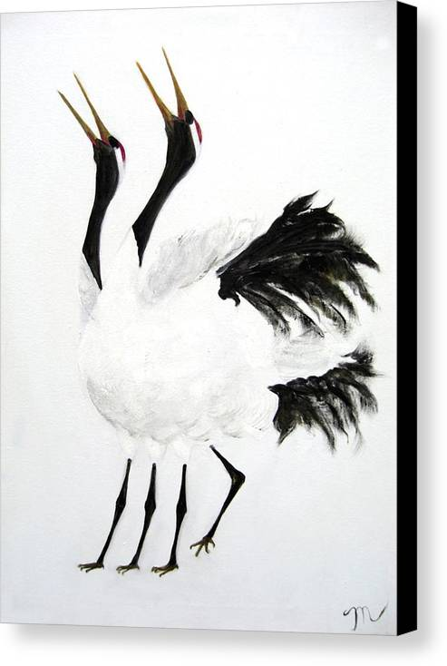 Bird Canvas Print featuring the painting Duet Of The Cranes by Michela Akers