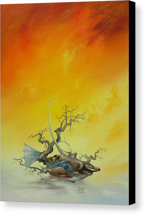 Canvas Print featuring the painting Fishtree 6. by Zoltan Ducsai