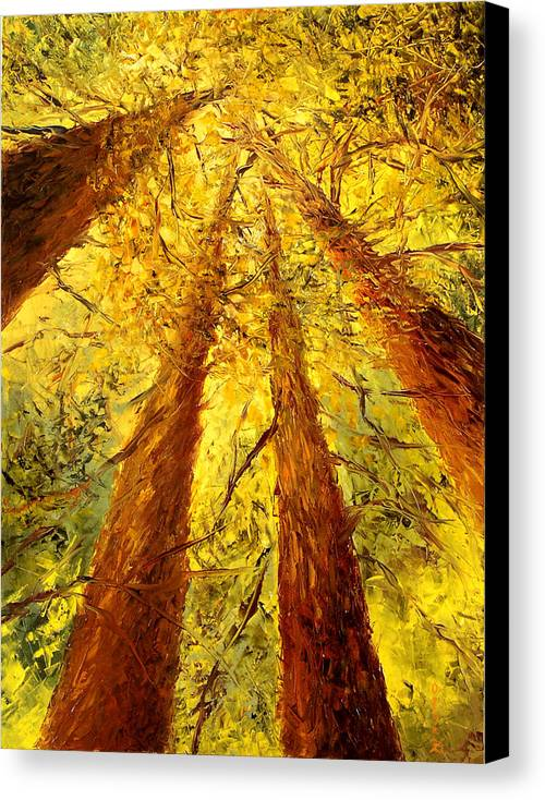 Oil Canvas Print featuring the painting Forest by Olga Gernovski