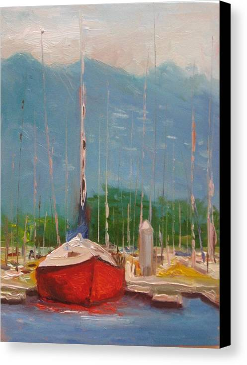Boat Canvas Print featuring the painting Harbor Red by Thomas Phinnessee