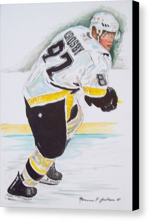 Hcokey Canvas Print featuring the painting Hotshot by Norman F Jackson