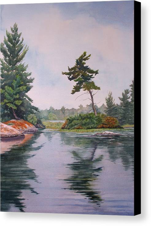 Lake Canvas Print featuring the painting Lake Reflection by Debbie Homewood