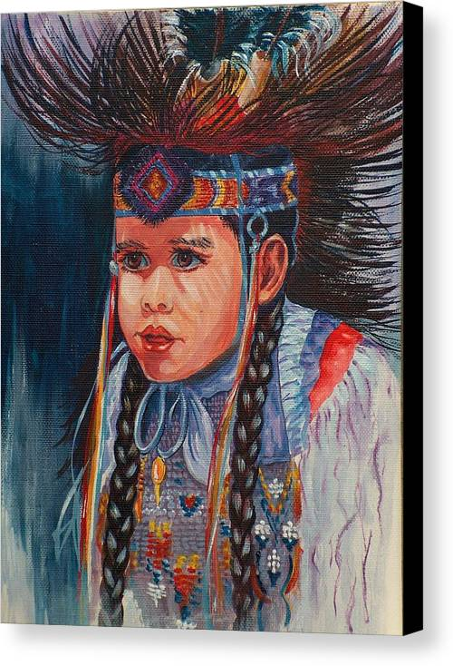 Native American Canvas Print featuring the painting Native American Dance by Sylvia Stone