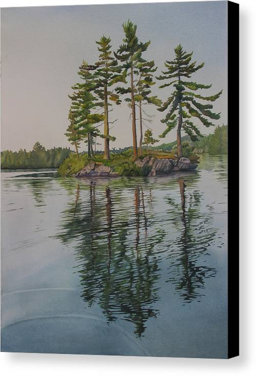 Lake Canvas Print featuring the painting Picnic Island At Dawn by Debbie Homewood