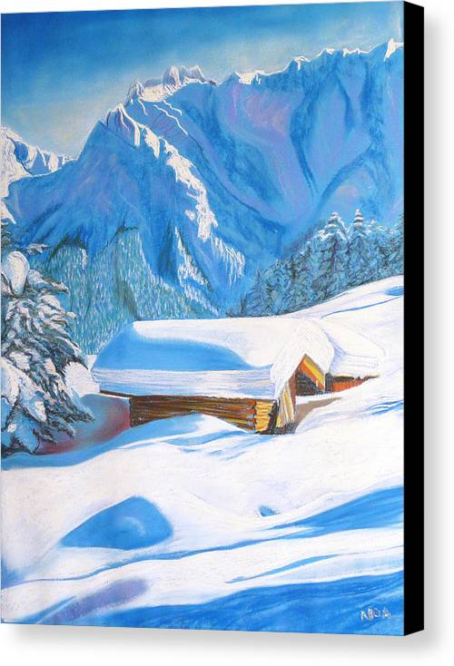 Snow Canvas Print featuring the pastel The Alpine Hut by Aymeric NOA