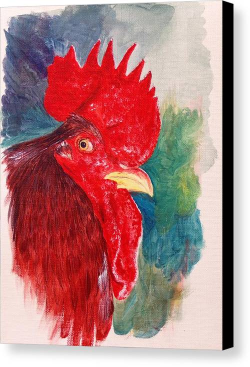 Rooster Canvas Print featuring the painting The Rooster Rules by Sylvia Stone