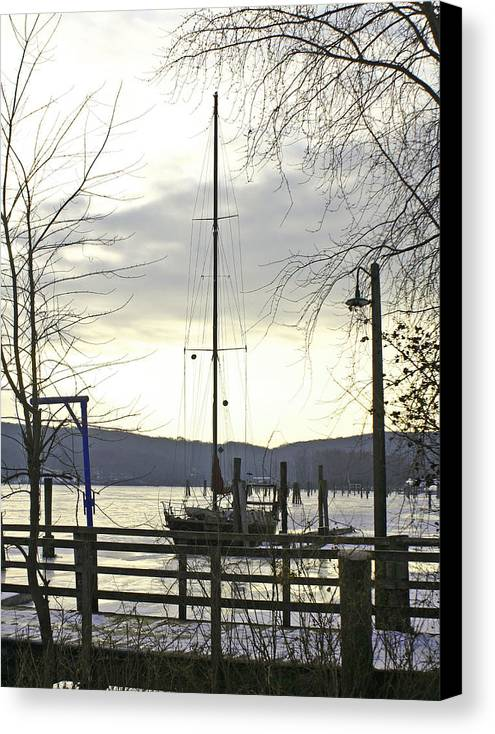 Sail Boat Canvas Print featuring the photograph Winter Mooring by Gerald Mitchell