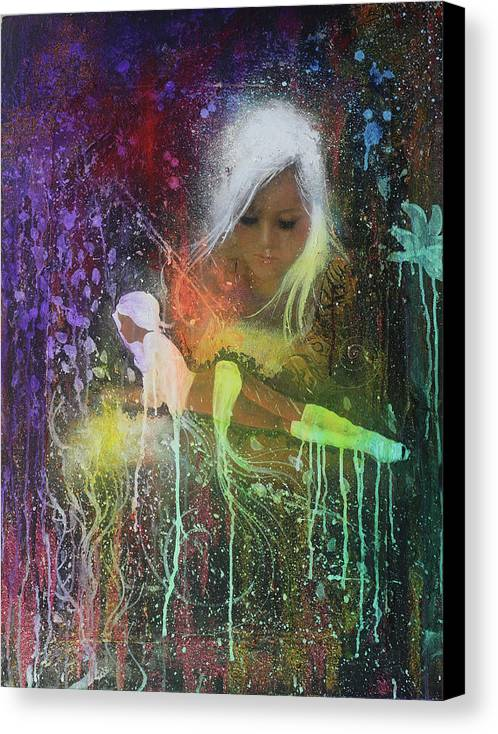 Oil Painting Canvas Print featuring the painting You're A Drop In The Rain ,you're Just A Number Not A Name by Law Cheuk Yui