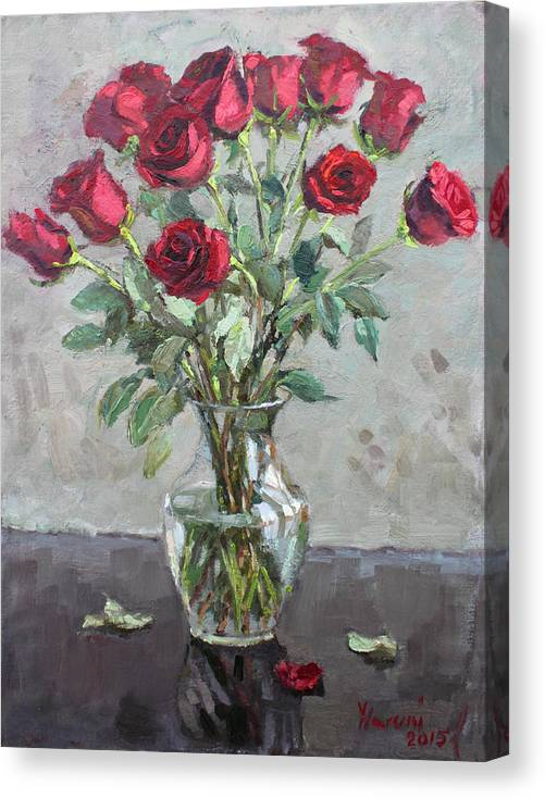Red Roses Canvas Print featuring the painting Red Roses 2 by Ylli Haruni