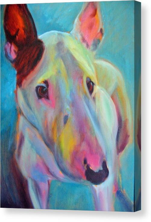 English Bull Terrier Portrait Canvas Print featuring the painting Clem by Kaytee Esser