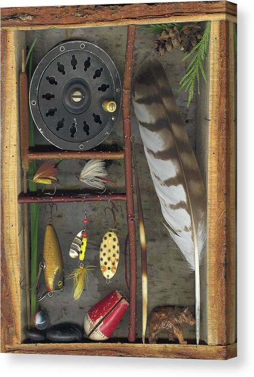 Shadow Box Canvas Print featuring the mixed media Shadow Box A by Sandi F Hutchins
