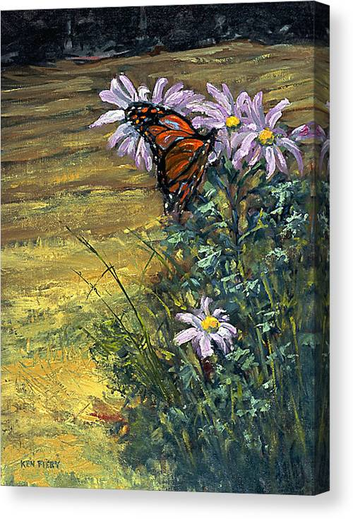 Butterfly Canvas Print featuring the painting Tuft Of Flowers by Ken Fiery