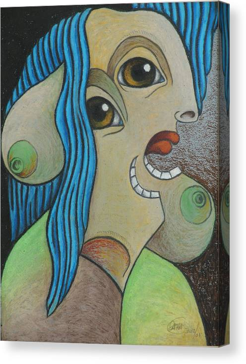 Sacha Circulism Circulismo Canvas Print featuring the drawing Woman 2001 by S A C H A - Circulism Technique