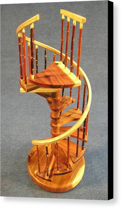 Architecture Canvas Print featuring the sculpture Red Cedar Rustic Spiral Stairs by Don Lorenzen