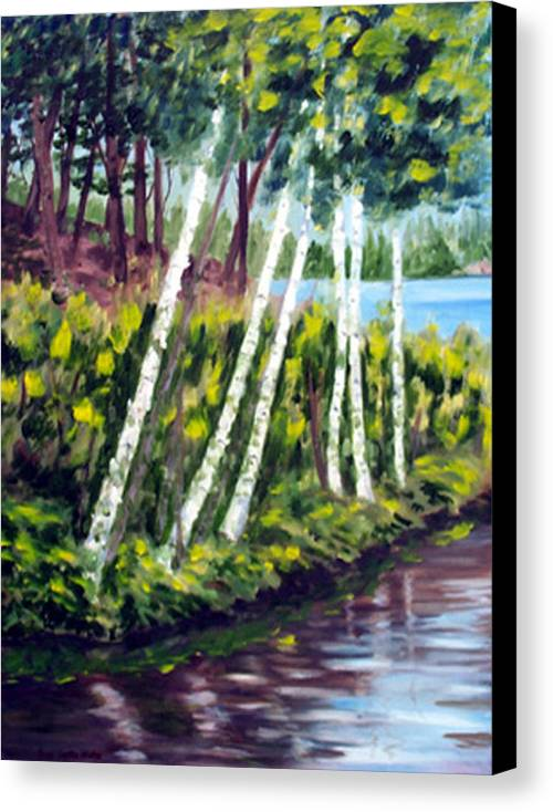 Landscape Canvas Print featuring the print Lakeside Birches by Anne Trotter Hodge