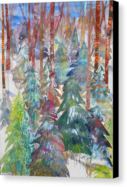 Landscape Canvas Print featuring the mixed media Winter Collage by Joyce Kanyuk