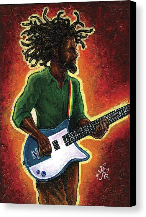 Guitar Canvas Print featuring the painting Electric by Marcus Anderson