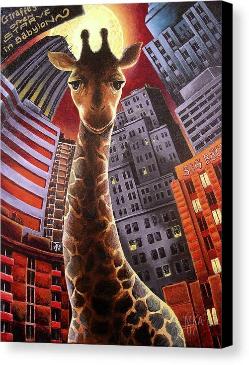 Giraffe City Babylon Surreal Canvas Print featuring the painting Giraffes Often Starve In Babylon by Marcus Anderson