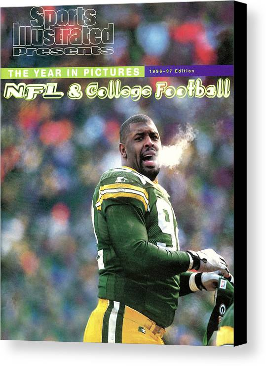 Green Bay Canvas Print featuring the photograph Green Bay Packers Reggie White, 1997 Nfc Championship Sports Illustrated Cover by Sports Illustrated