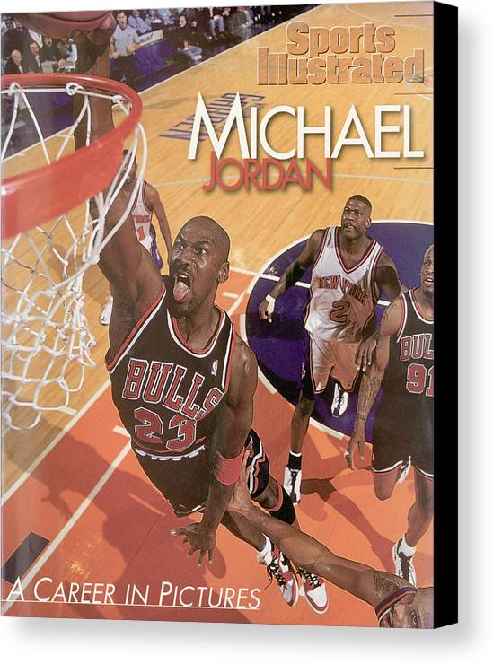 Nba Pro Basketball Canvas Print featuring the photograph Michael Jordan A Career In Pictures Sports Illustrated Cover by Sports Illustrated