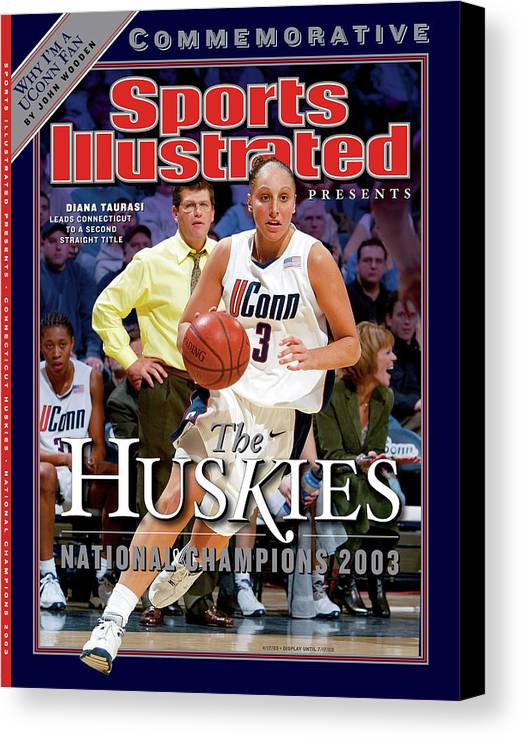 Looking Canvas Print featuring the photograph University Of Connecticut Diana Taurasi, 2003 Ncaa Womens Sports Illustrated Cover by Sports Illustrated
