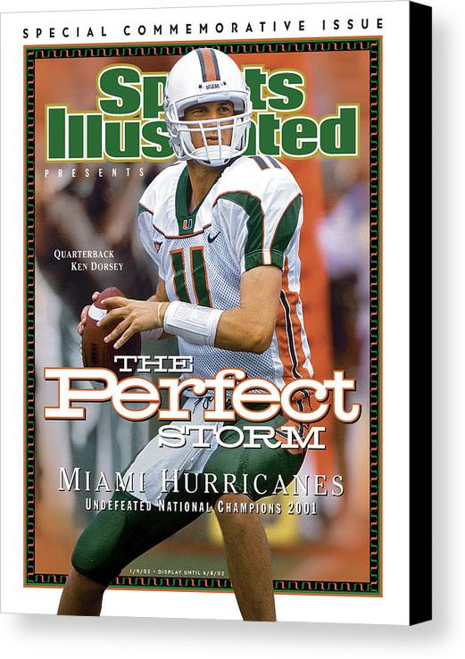 Sports Illustrated Canvas Print featuring the photograph University Of Miami Qb Ken Dorsey, 2001 Ncaa National Sports Illustrated Cover by Sports Illustrated
