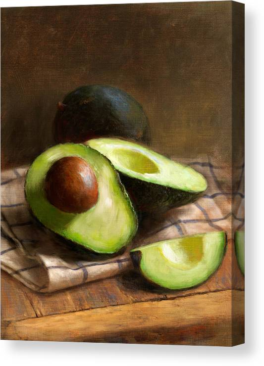 Avocado Canvas Print featuring the painting Avocados by Robert Papp