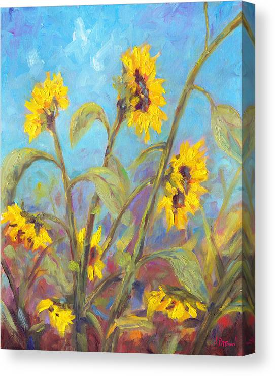 Sunflower Canvas Print featuring the painting Bathing Beauties by Jeff Pittman