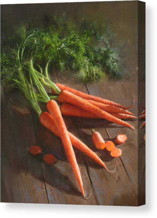 As Seen In Cooks Illustrated Magazine Canvas Print featuring the painting Carrots by Robert Papp