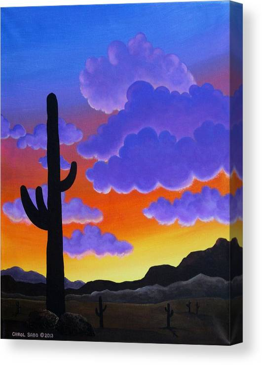 Desert Canvas Print featuring the painting Desert Sunset by Carol Sabo