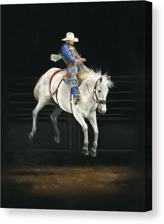 Rodeo Canvas Print featuring the pastel Hangin' On by Karen Elkan